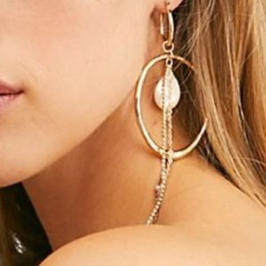 Free people Star ⭐️ crossed stone hoop earrings